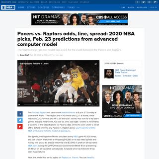ArchiveBay.com - www.cbssports.com/nba/news/pacers-vs-raptors-odds-line-spread-2020-nba-picks-feb-23-predictions-from-advanced-computer-model/ - Pacers vs. Raptors odds, line, spread- 2020 NBA picks, Feb. 23 predictions from advanced computer model - CBSSports.com