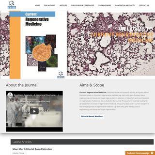 Current Regenerative Medicine - BenthamScience