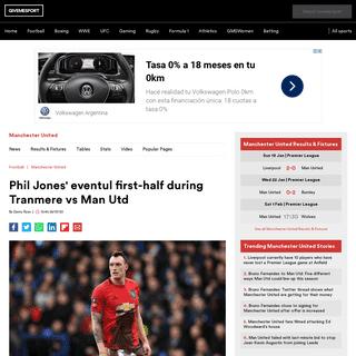 Phil Jones' eventul first-half during Tranmere vs Man Utd - GiveMeSport