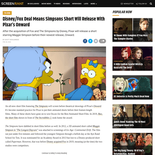 Disney-Fox Deal Means Simpsons Short Will Release With Pixar's Onward