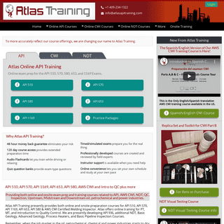 Atlas Online API, CWI & NDT Training Courses From $499