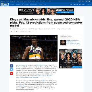 Kings vs. Mavericks odds, line, spread- 2020 NBA picks, Feb. 12 predictions from advanced computer model - CBSSports.com