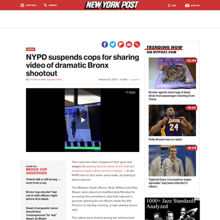 ArchiveBay.com - nypost.com/2020/02/10/nypd-suspends-cops-for-sharing-video-of-dramatic-bronx-shootout/ - NYPD cops suspended for sharing video of dramatic Bronx shootout