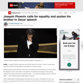 Joaquin Phoenix calls for equality and quotes his brother in Oscar speech - CNN