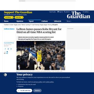 ArchiveBay.com - www.theguardian.com/sport/2020/jan/26/lebron-james-kobe-bryant-nba-all-time-points-scoring-list-basketball - LeBron James passes Kobe Bryant for third on all-time NBA scoring list - Sport - The Guardian