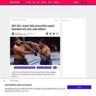 UFC 247- Justin Tafa scores first round knockout win over Juan Adams - Sporting News Australia