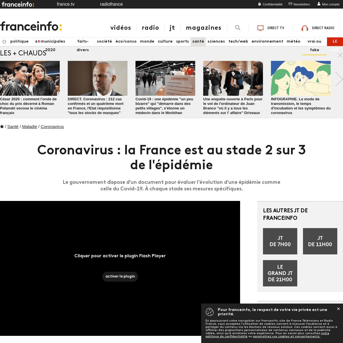 Coronavirus - la France est au stade 2 sur 3 de l'épidémie