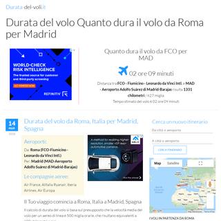 Durata del volo Quanto dura il volo da Roma per Madrid