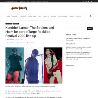 Kendrick Lamar, The Strokes and Haim be part of large Roskilde Festival 2020 line-up - Go Tech Daily
