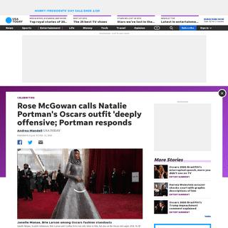 Natalie Portman responds to Rose McGowan diss of Oscars feminist cape