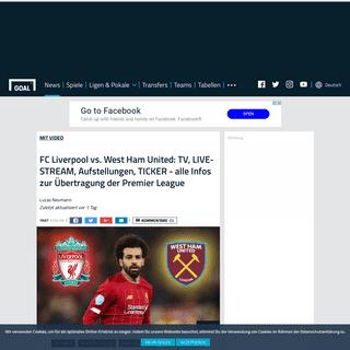 FC Liverpool vs. West Ham United- TV, LIVE-STREAM, Aufstellungen, TICKER - alle Infos zur Übertragung der Premier League - Goal