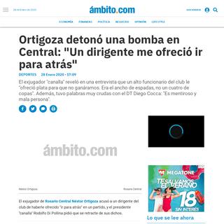 Ortigoza detonó una bomba en Central- Un dirigente me ofreció ir para atrás - Fútbol, Rosario Central, Néstor Ortigoza