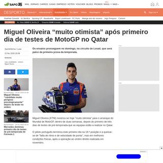 "Miguel Oliveira ""muito otimista"" após primeiro dia de testes de MotoGP no Qatar - Modalidades - SAPO Desporto"