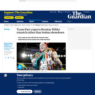 ArchiveBay.com - www.theguardian.com/sport/2020/feb/23/tyson-fury-expects-deontay-wilder-rematch-rather-than-anthony-joshua-showdown-boxing - Tyson Fury expects Deontay Wilder rematch rather than Joshua showdown - Sport - The Guardian