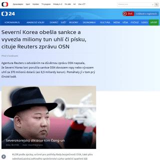Severní Korea obešla sankce a vyvezla miliony tun uhlí či písku, cituje Reuters zprávu OSN — ČT24 — Česká televize