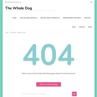 Page Not Found - The Whole Dog
