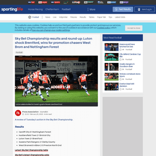 Sky Bet Championship results and round-up- Luton shock Brentford, wins for promotion chasers West Brom and Nottingham Forest