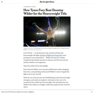 How Tyson Fury Beat Deontay Wilder for the Heavyweight Title