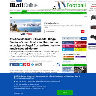 Atletico Madrid 1-0 Granada- Diego Simeone's men finally get a win - Daily Mail Online