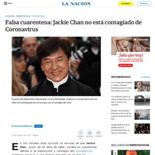 Falsa cuarentena- Jackie Chan no está contagiado de Coronavirus - LA NACION