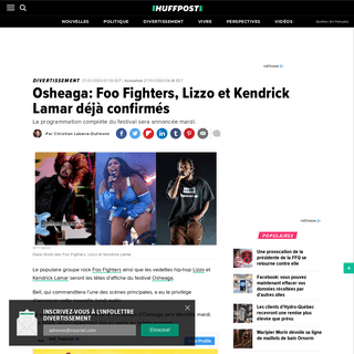 ArchiveBay.com - quebec.huffingtonpost.ca/entry/osheaga-2020-foo-fighters-lizzo-kendrick-lamar_qc_5e2ed2d1c5b6779e9c373b09 - Osheaga- Foo Fighters, Lizzo et Kendrick Lamar déjà confirmés - HuffPost Québec