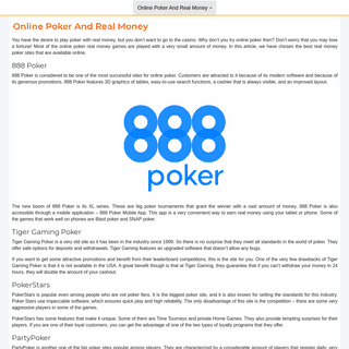 Online Poker And Real Money