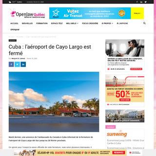 Cuba- l'aéroport de Cayo Largo est fermé - Open Jaw Québec
