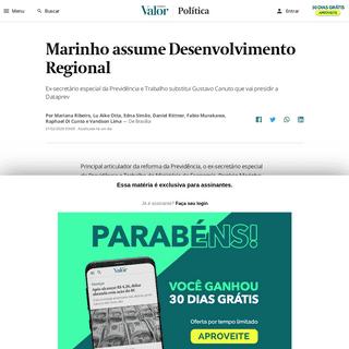 Marinho assume Desenvolvimento Regional - Política - Valor Econômico