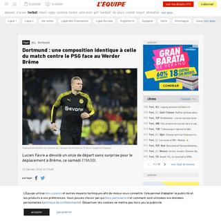 Dortmund- une composition identique à celle du match contre le PSG face au Werder Brême - Foot - ALL - Dortmund - L'Équipe