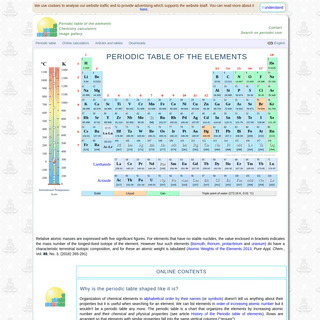 EniG. Periodic Table of the Elements, Calculators, and Printable Materials