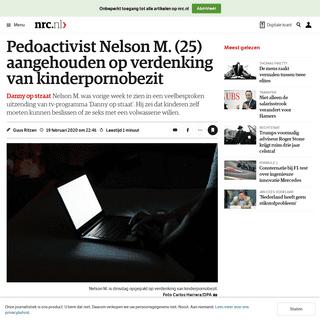 ArchiveBay.com - www.nrc.nl/nieuws/2020/02/19/pedoactivist-nelson-m-25-aangehouden-op-verdenking-van-kinderpornobezit-a3991088 - Pedoactivist Nelson M. (25) aangehouden op verdenking van kinderpornobezit - NRC