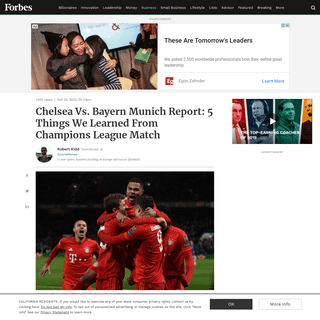 ArchiveBay.com - www.forbes.com/sites/robertkidd/2020/02/25/chelsea-vs-bayern-munich-report-5-things-we-learnt-from-champions-league-match/ - Chelsea Vs. Bayern Munich Report- 5 Things We Learned From Champions League Match