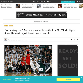 Previewing No. 9 Maryland men's basketball vs. No. 24 Michigan State- Game time, odds and how to watch - Baltimore Sun