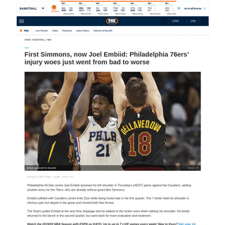 ArchiveBay.com - www.foxsports.com.au/basketball/nba/philadelphia-76ers-injury-woes-go-from-bad-to-worse-as-grimacing-joel-embiid-forced-out-of-loss-to-cavs-with-shoulder-injury/news-story/e08b5c502c4bc74b752adf48ee1cad97 - NBA news- Joel Embiid injury latest, updates, Philadelphia 76ers vs Cavaliers result, score, Ben Simmons - Fox Sports