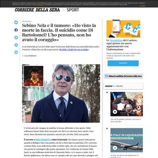 Sebino Nela e il tumore- «Ho pensato al suicidio, ma non ho avuto il coraggio» - Corriere.it