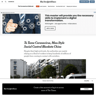 To Tame Coronavirus, Mao-Style Social Control Blankets China - The New York Times