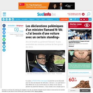 Les déclarations polémiques d'un ministre flamand N-VA- «J'ai besoin d'une voiture avec un certain standing»