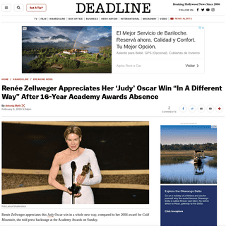 "Renée Zellweger Appreciates Her 'Judy' Oscar Win ""In A Different Way"" – Deadline"