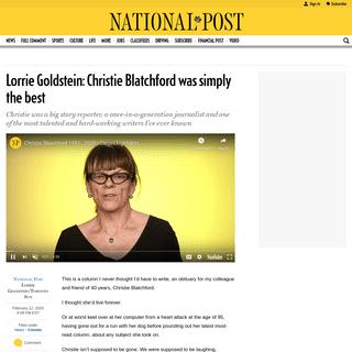 Lorrie Goldstein- Christie Blatchford was simply the best - National Post