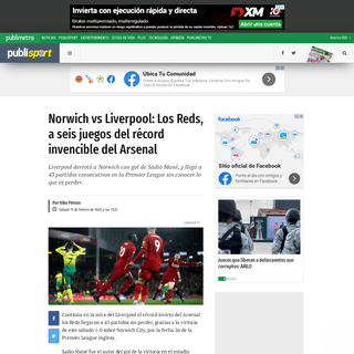Norwich vs Liverpool- Los Reds, a seis juegos del récord invencible del Arsenal - Publimetro México