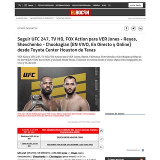 AQUÍ ▷ UFC 247 [Ver-HD] [EN VIVO] Jones, Reyes, Valentina Shevchenko y Chookagian - Cómo ver aquí peleas GRATIS, En Directo