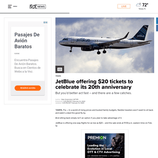 ArchiveBay.com - www.wtsp.com/article/travel/jetblue-offering-20-tickets-to-celebrate-its-20th-anniversary/67-ac34565a-285e-46ac-b80d-b0829a79e996 - JetBlue offering $20 tickets to celebrate its 20th anniversary - wtsp.com