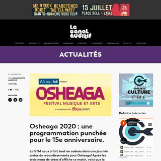 Osheaga 2020 - une programmation punchée pour le 15e anniversaire. - Le Canal Auditif
