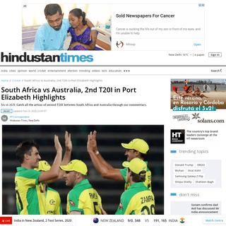 South Africa vs Australia, 2nd T20I in Port Elizabeth Highlights - cricket - Hindustan Times