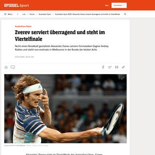 Australian Open 2020- Alexander Zverev serviert überragend und steht im Viertelfinale - DER SPIEGEL