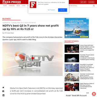 NDTV's best Q3 in 7 years show net profit up by 55- at Rs 11.25 cr