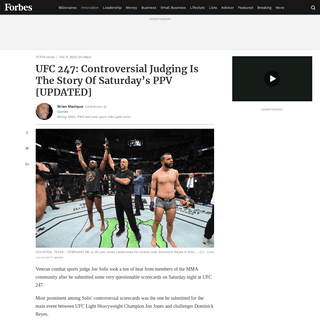 UFC 247- Controversial Judging Is The Story Of Saturday's PPV [UPDATED]