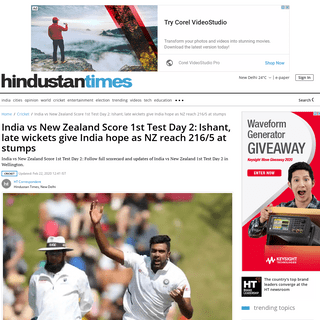 ArchiveBay.com - www.hindustantimes.com/cricket/india-vs-new-zealand-live-score-1st-test-match-day-2-at-wellington-weather-rain-ind-vs-nz-updates/story-Lx2Ha5aR0TRst4BI0P2LcP.html - India vs New Zealand Score 1st Test Day 2-Ishant, late wickets give India hope as NZ reach 216-5 at stumps - cricket - Hindus