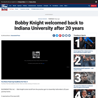 Bobby Knight welcomed back to Indiana University after 20 years - Fox News