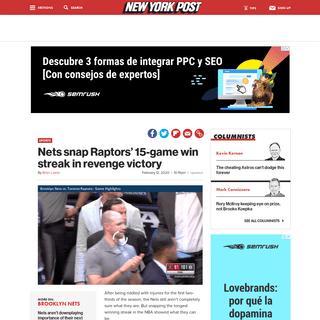 ArchiveBay.com - nypost.com/2020/02/12/nets-snap-raptors-15-game-win-streak-in-revenge-victory/ - Nets snap Raptors' 15-game win streak in revenge victory